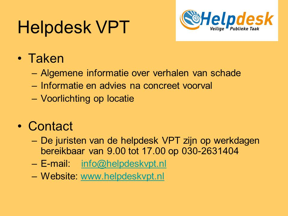 Helpdesk VPT Taken Contact