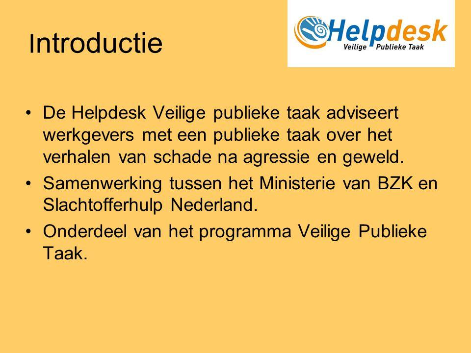 Introductie De Helpdesk Veilige publieke taak adviseert werkgevers met een publieke taak over het verhalen van schade na agressie en geweld.