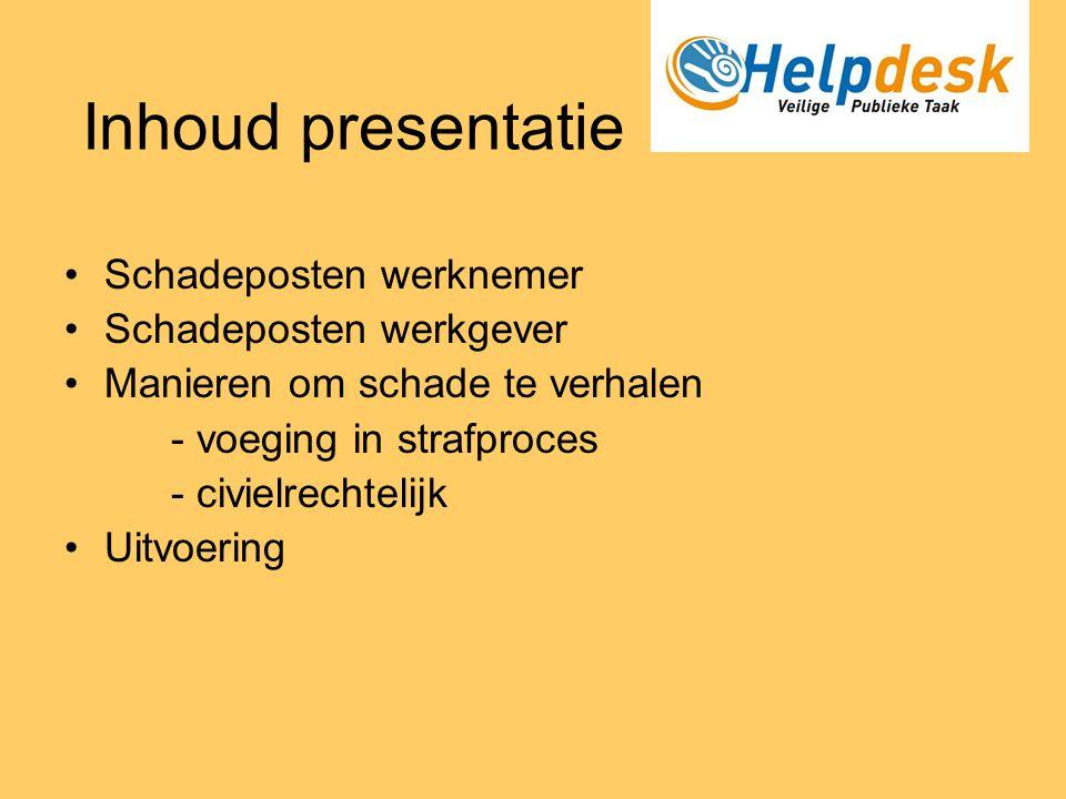 Inhoud presentatie Schadeposten werknemer Schadeposten werkgever