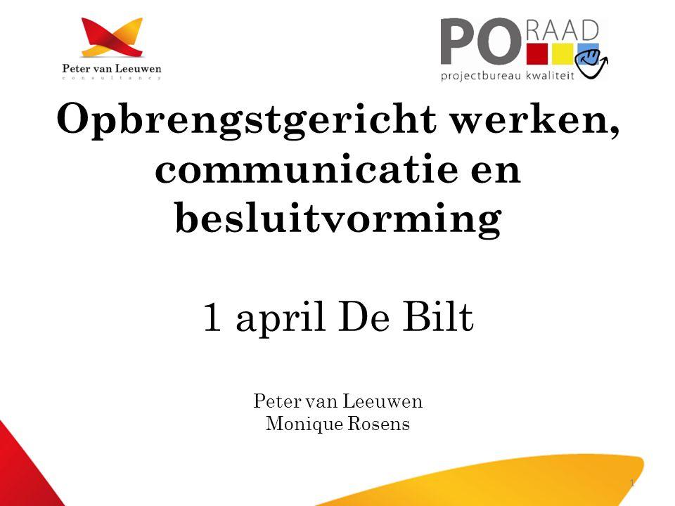 Opbrengstgericht werken, communicatie en besluitvorming 1 april De Bilt Peter van Leeuwen Monique Rosens