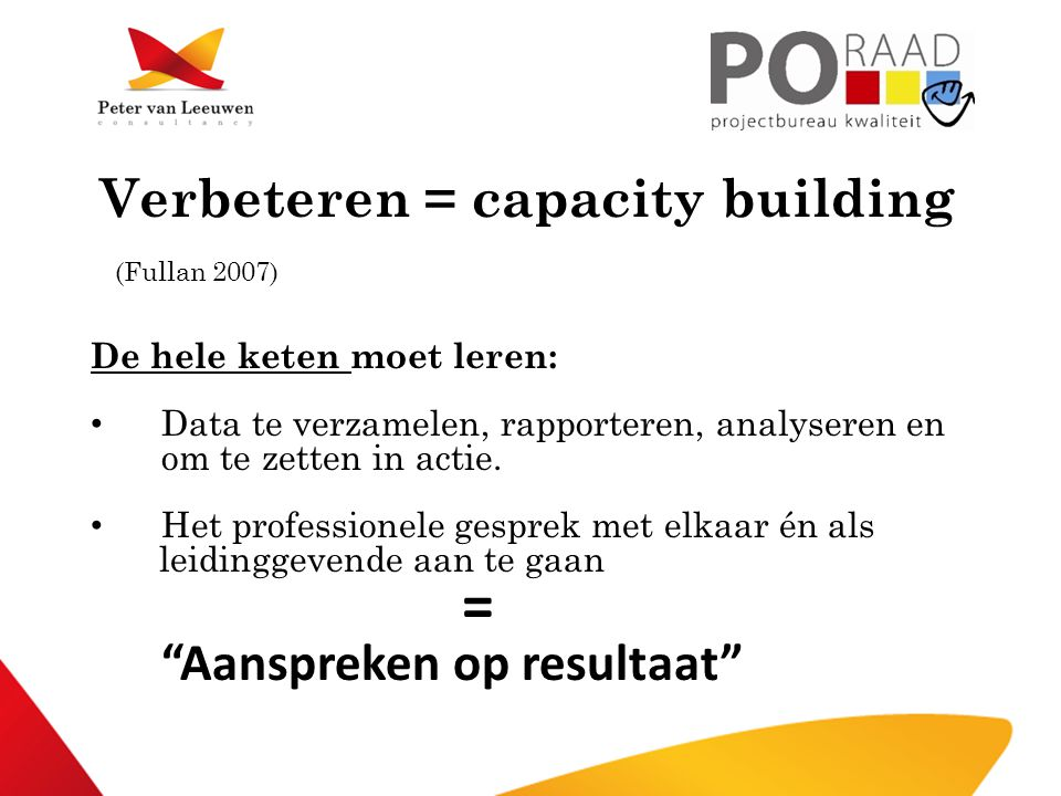 Verbeteren = capacity building (Fullan 2007)