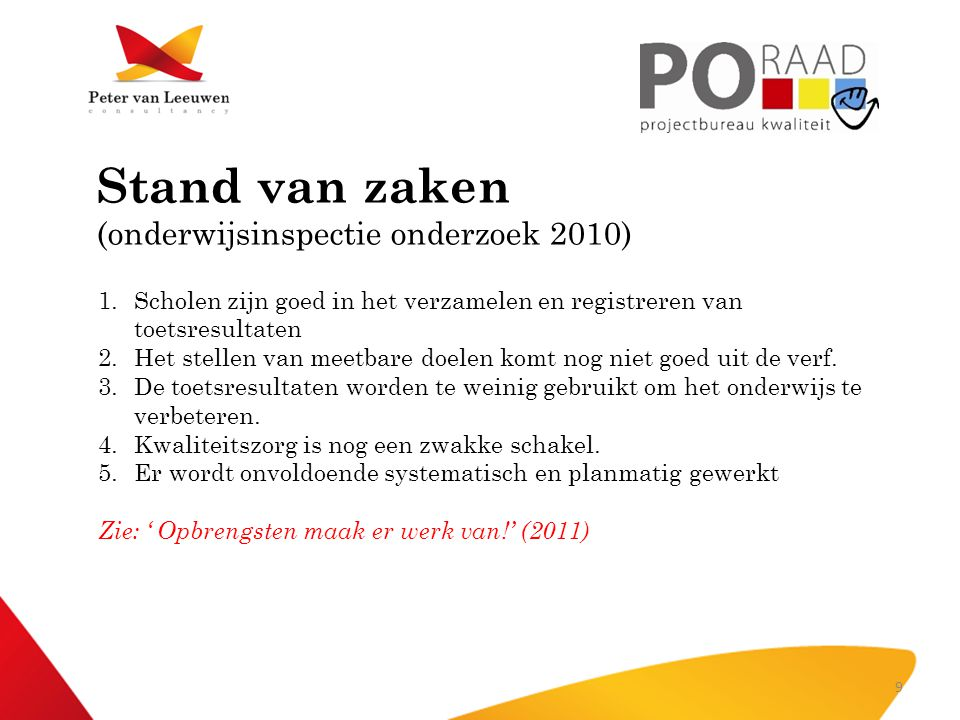 Stand van zaken (onderwijsinspectie onderzoek 2010)