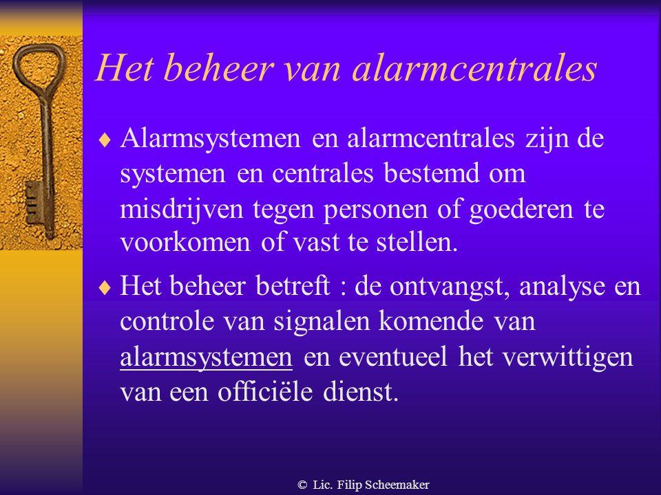 Het beheer van alarmcentrales