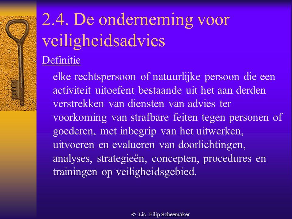 2.4. De onderneming voor veiligheidsadvies