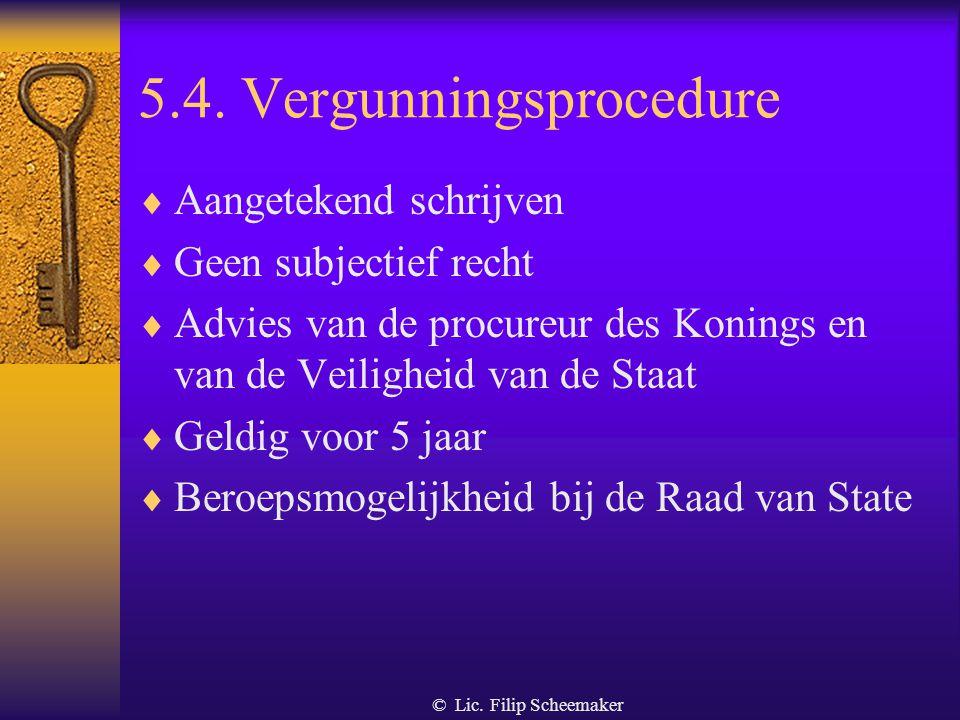 5.4. Vergunningsprocedure