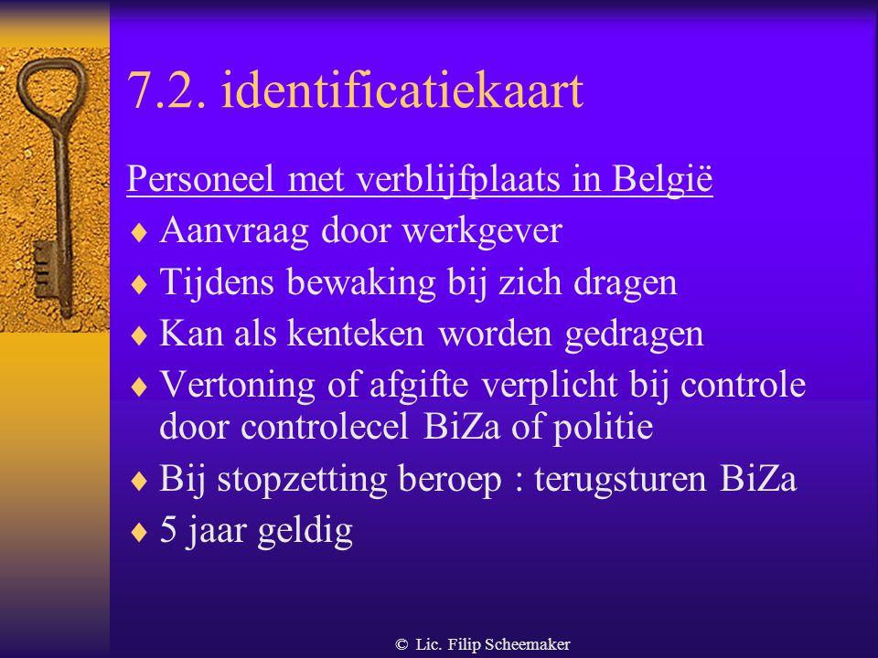 7.2. identificatiekaart Personeel met verblijfplaats in België