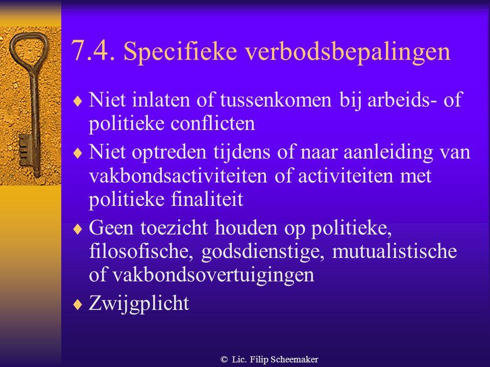 7.4. Specifieke verbodsbepalingen