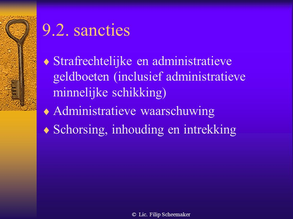9.2. sancties Strafrechtelijke en administratieve geldboeten (inclusief administratieve minnelijke schikking)