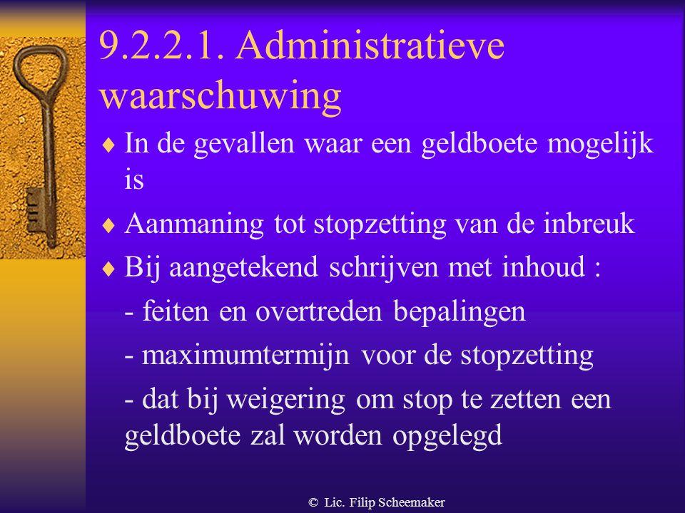 9.2.2.1. Administratieve waarschuwing