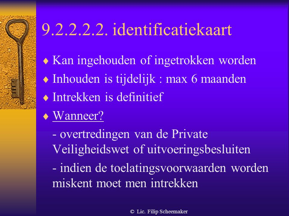 9.2.2.2.2. identificatiekaart Kan ingehouden of ingetrokken worden