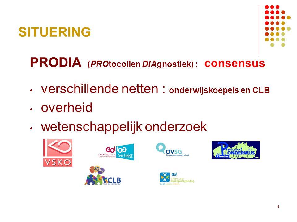 SITUERING PRODIA (PROtocollen DIAgnostiek) : consensus. verschillende netten : onderwijskoepels en CLB.