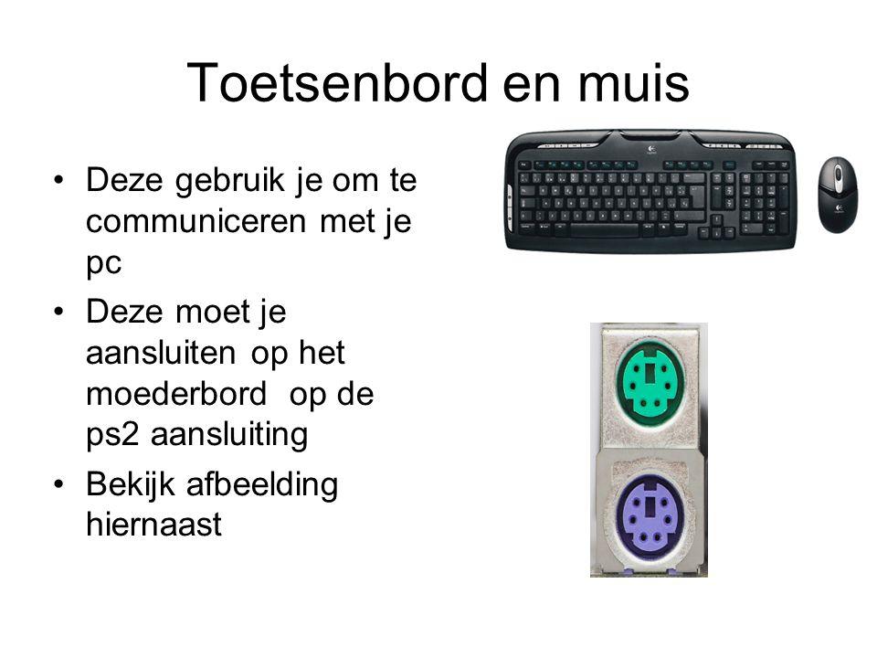Toetsenbord en muis Deze gebruik je om te communiceren met je pc
