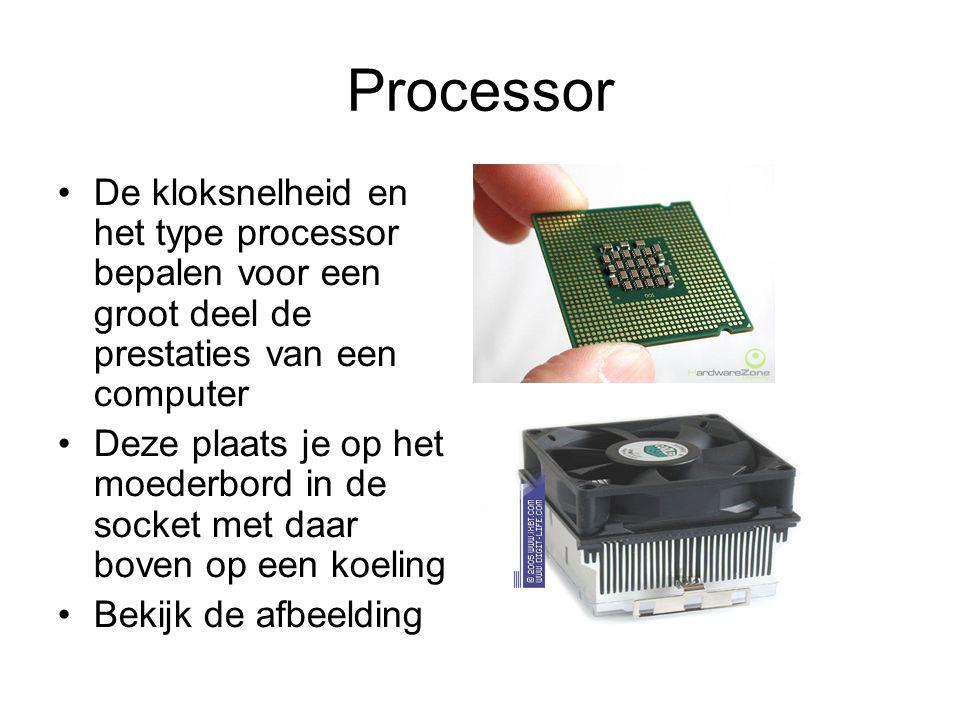 Processor De kloksnelheid en het type processor bepalen voor een groot deel de prestaties van een computer.