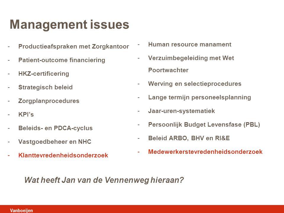 Management issues Wat heeft Jan van de Vennenweg hieraan