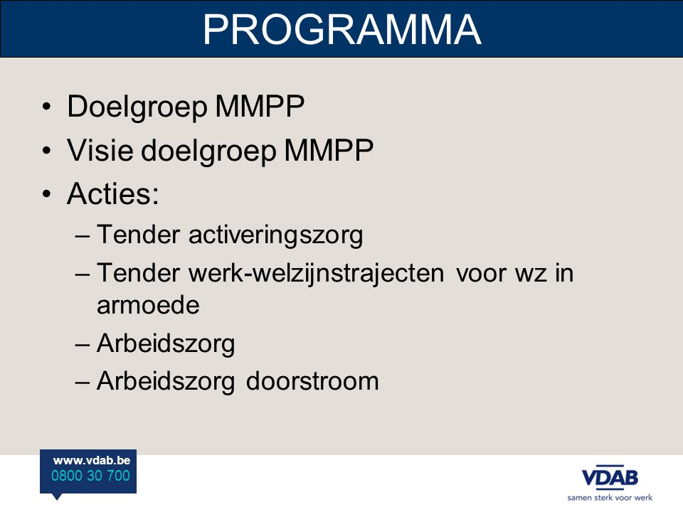 PROGRAMMA Doelgroep MMPP Visie doelgroep MMPP Acties: