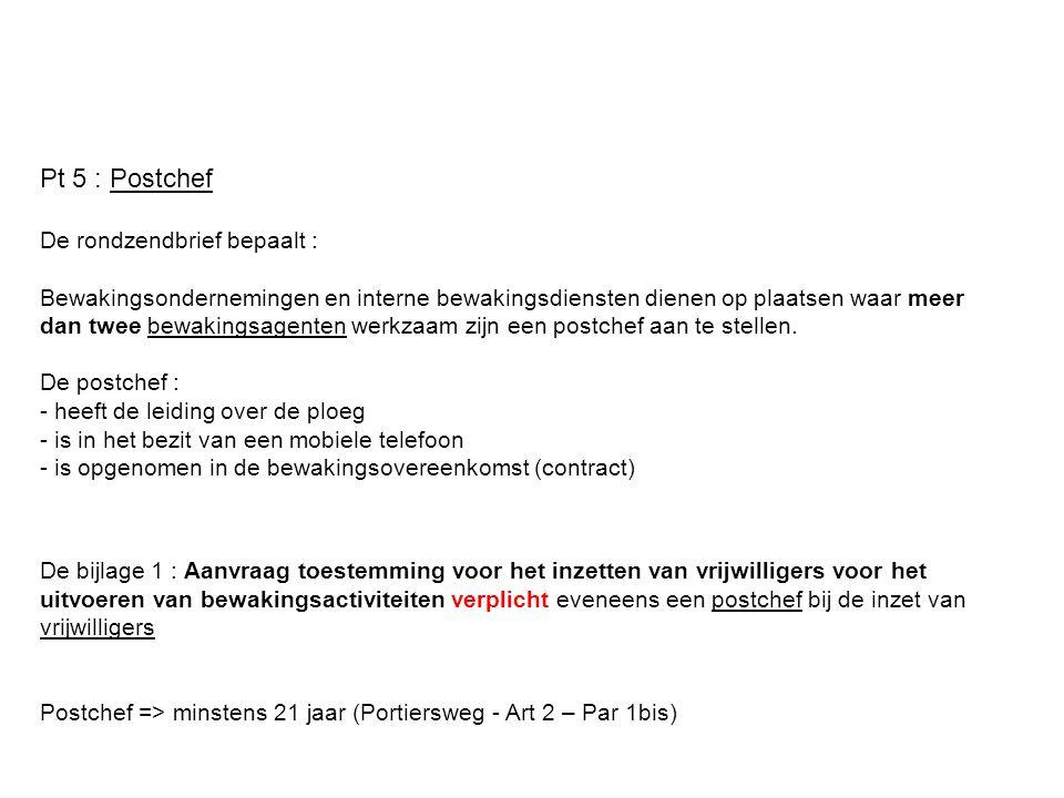 Pt 5 : Postchef De rondzendbrief bepaalt :
