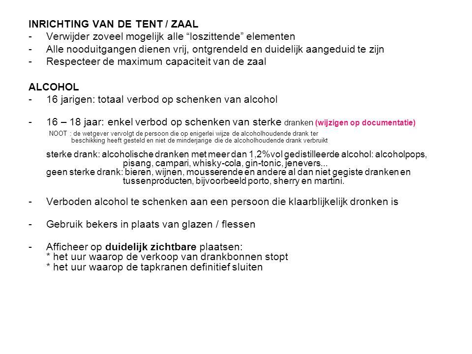 INRICHTING VAN DE TENT / ZAAL