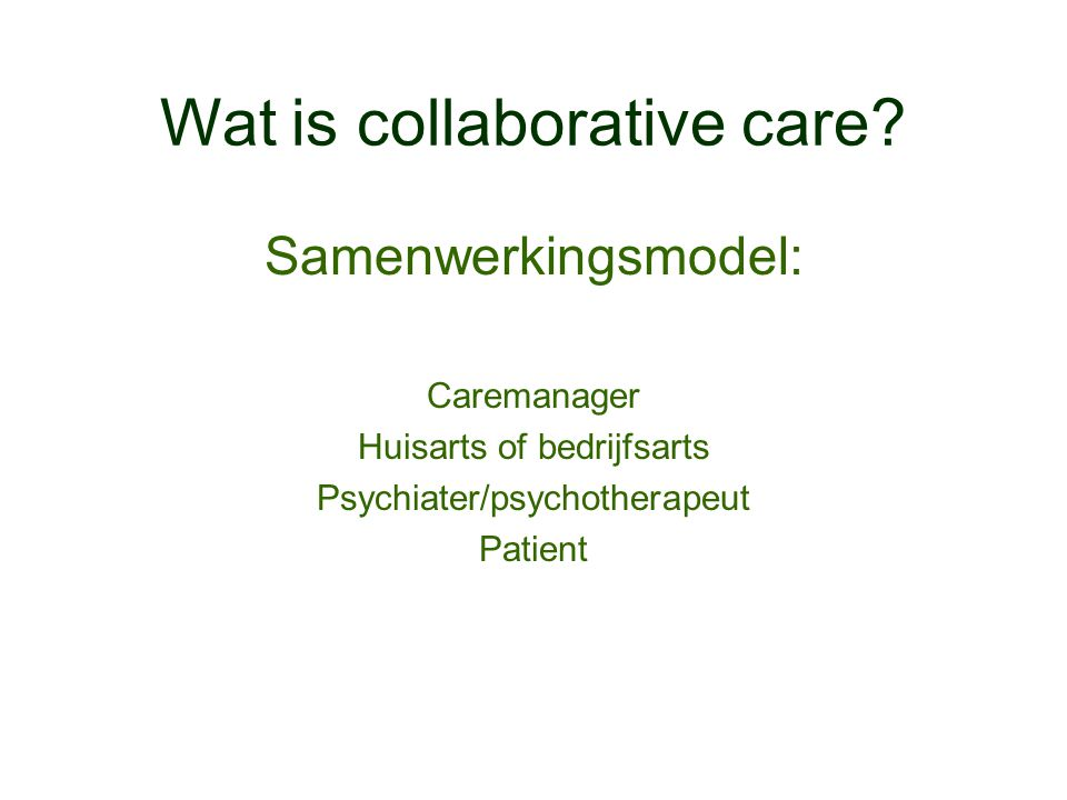 Wat is collaborative care