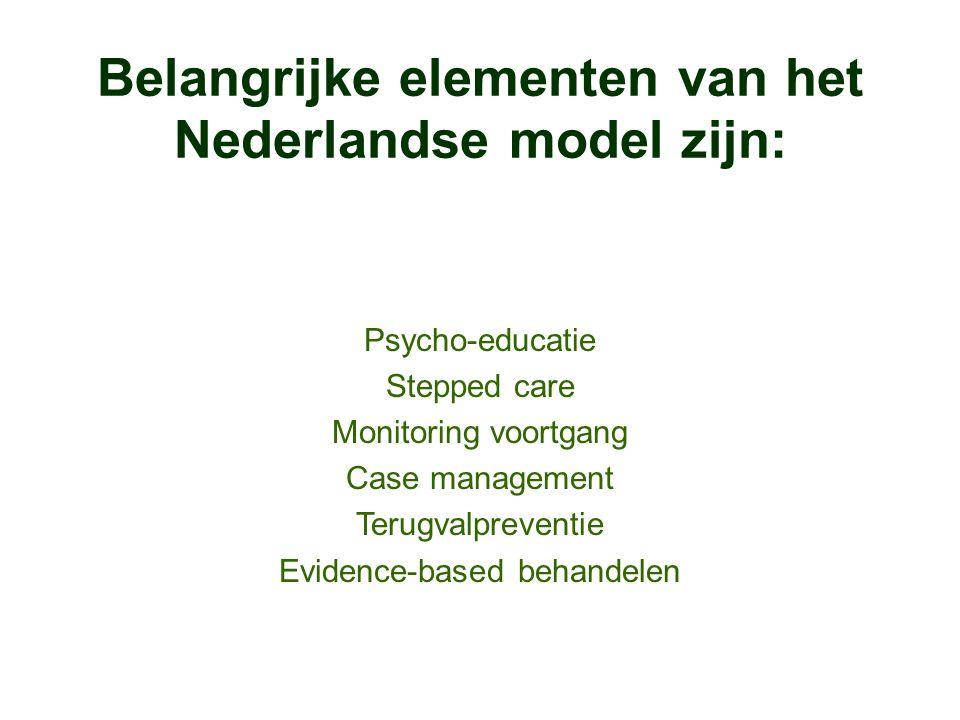 Belangrijke elementen van het Nederlandse model zijn: