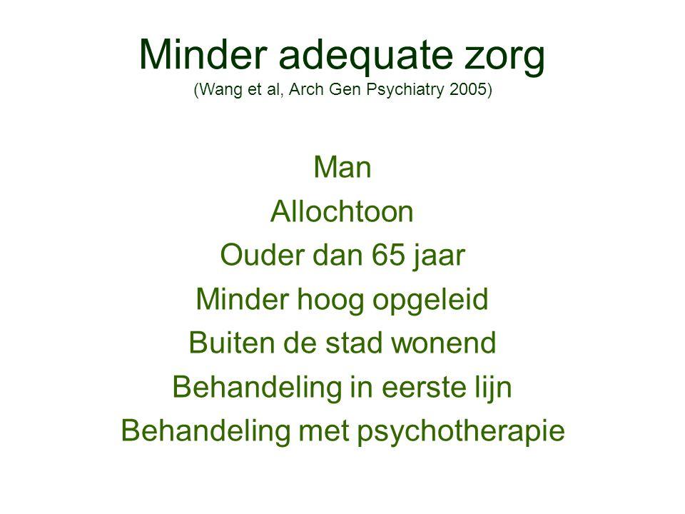 Minder adequate zorg (Wang et al, Arch Gen Psychiatry 2005)