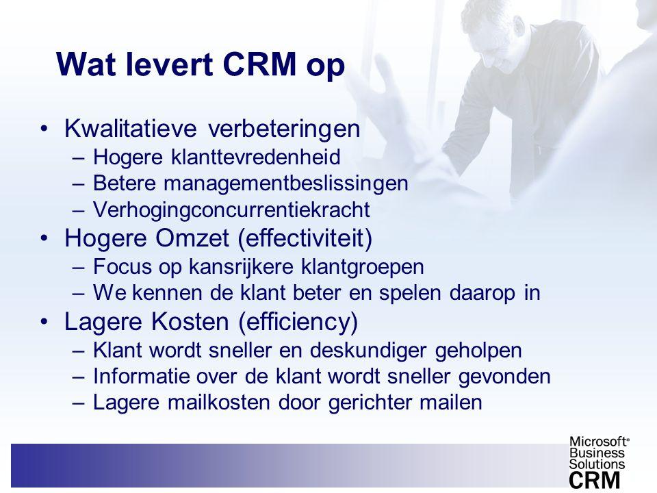 Wat levert CRM op Kwalitatieve verbeteringen