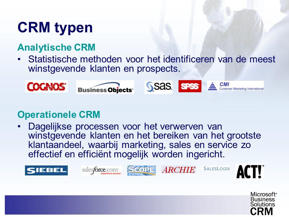 CRM typen Analytische CRM