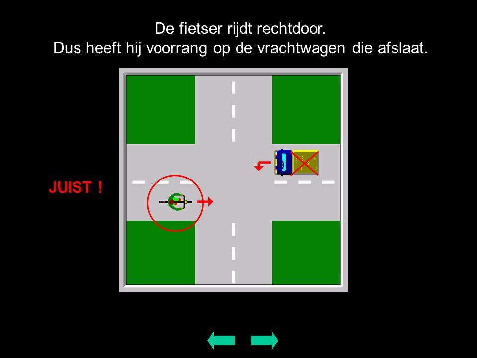 De fietser rijdt rechtdoor