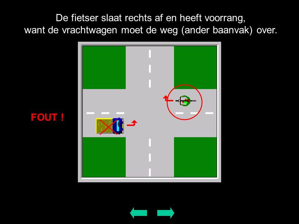 De fietser slaat rechts af en heeft voorrang, want de vrachtwagen moet de weg (ander baanvak) over.