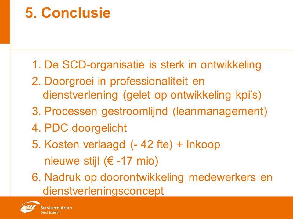 5. Conclusie 1. De SCD-organisatie is sterk in ontwikkeling