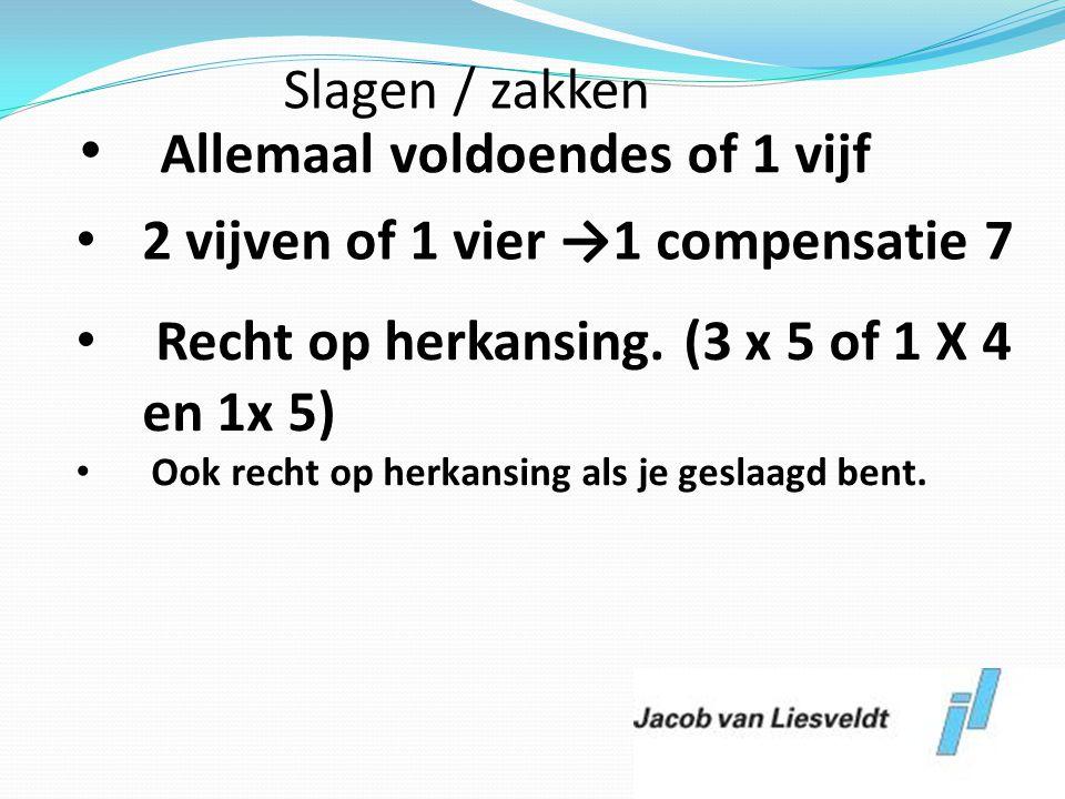 Allemaal voldoendes of 1 vijf 2 vijven of 1 vier →1 compensatie 7
