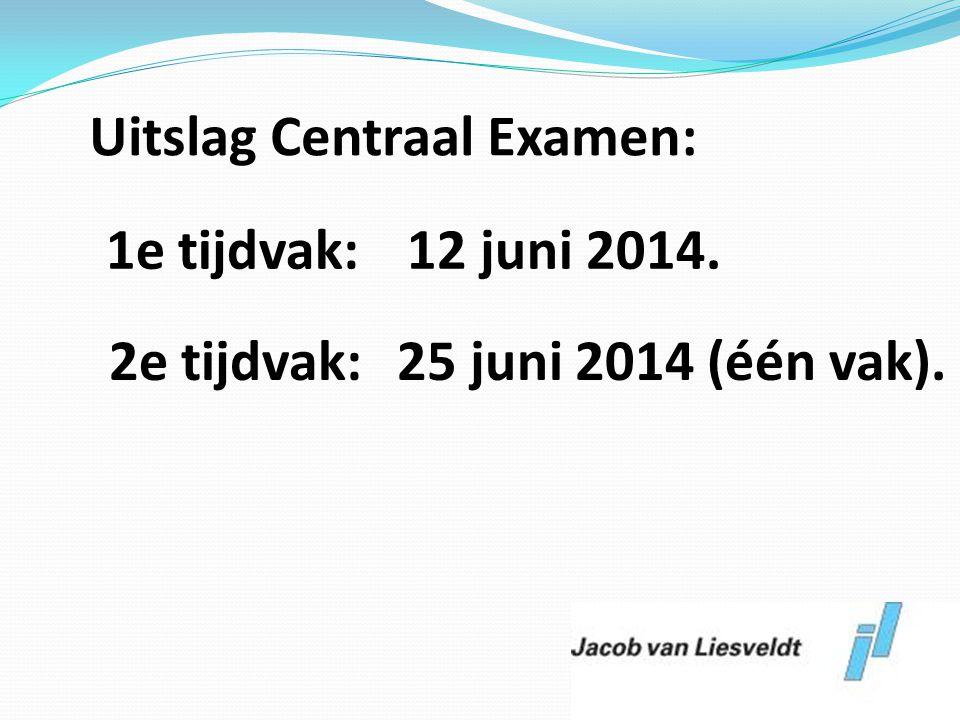 Uitslag Centraal Examen: 2e tijdvak: 25 juni 2014 (één vak).