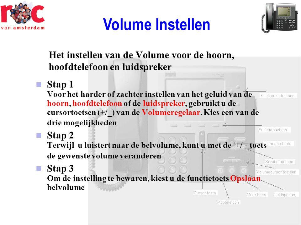 Volume Instellen Het instellen van de Volume voor de hoorn, hoofdtelefoon en luidspreker.