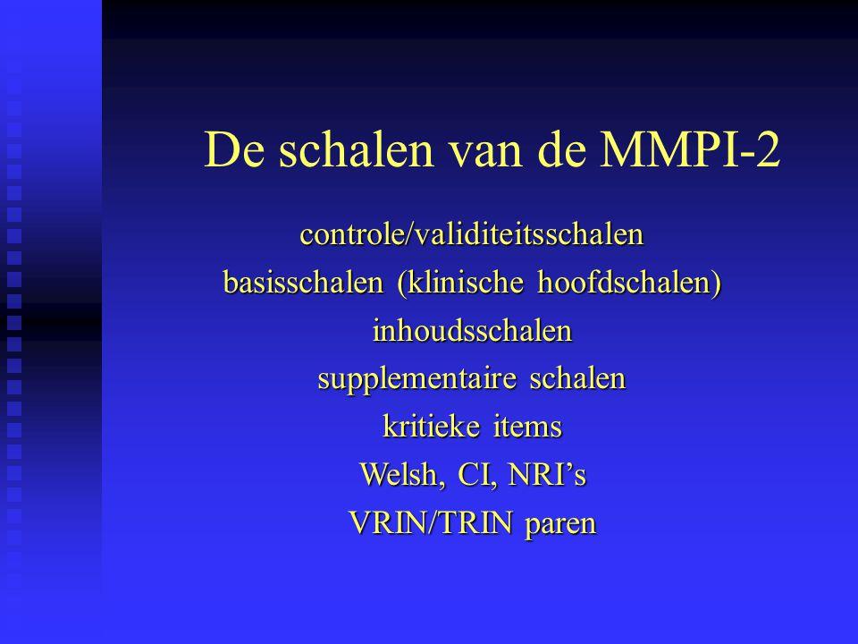 De schalen van de MMPI-2 controle/validiteitsschalen