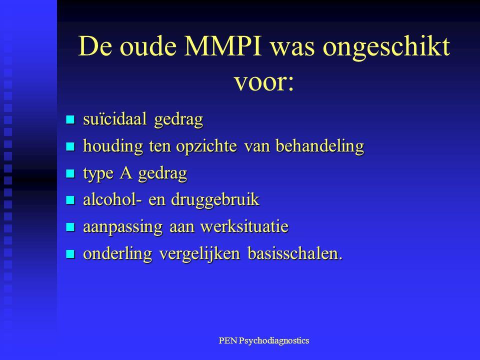 De oude MMPI was ongeschikt voor: