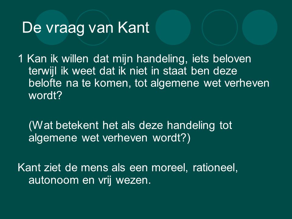 De vraag van Kant