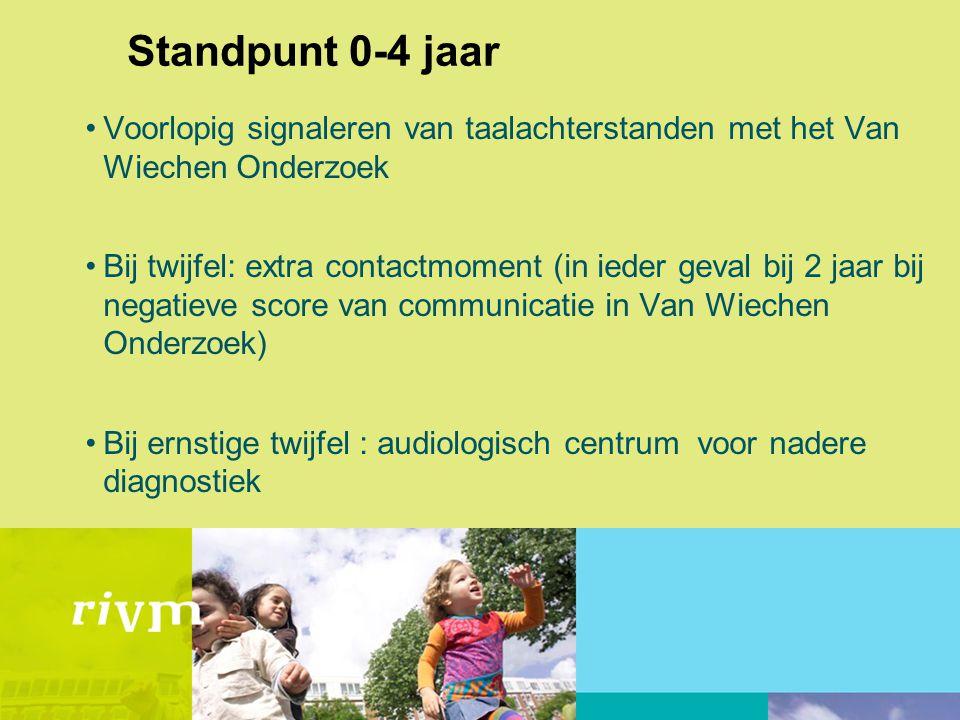 Standpunt 0-4 jaar Voorlopig signaleren van taalachterstanden met het Van Wiechen Onderzoek.
