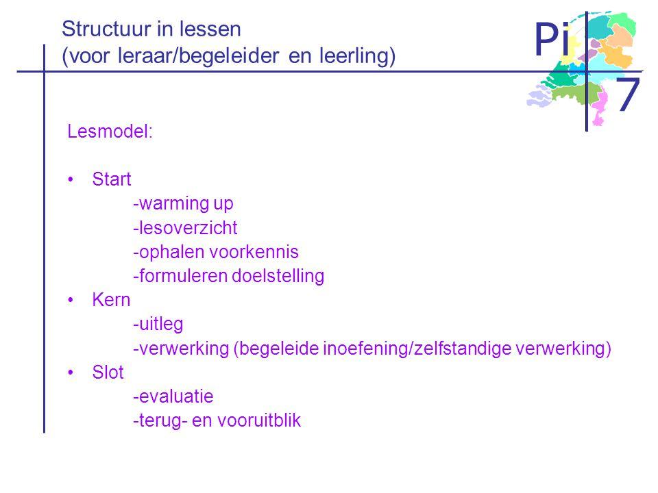 Structuur in lessen (voor leraar/begeleider en leerling)