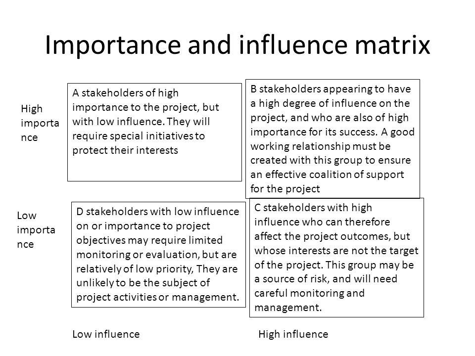 Importance and influence matrix