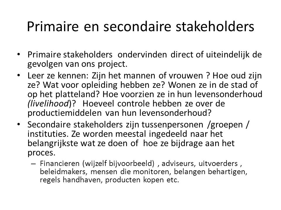 Primaire en secondaire stakeholders