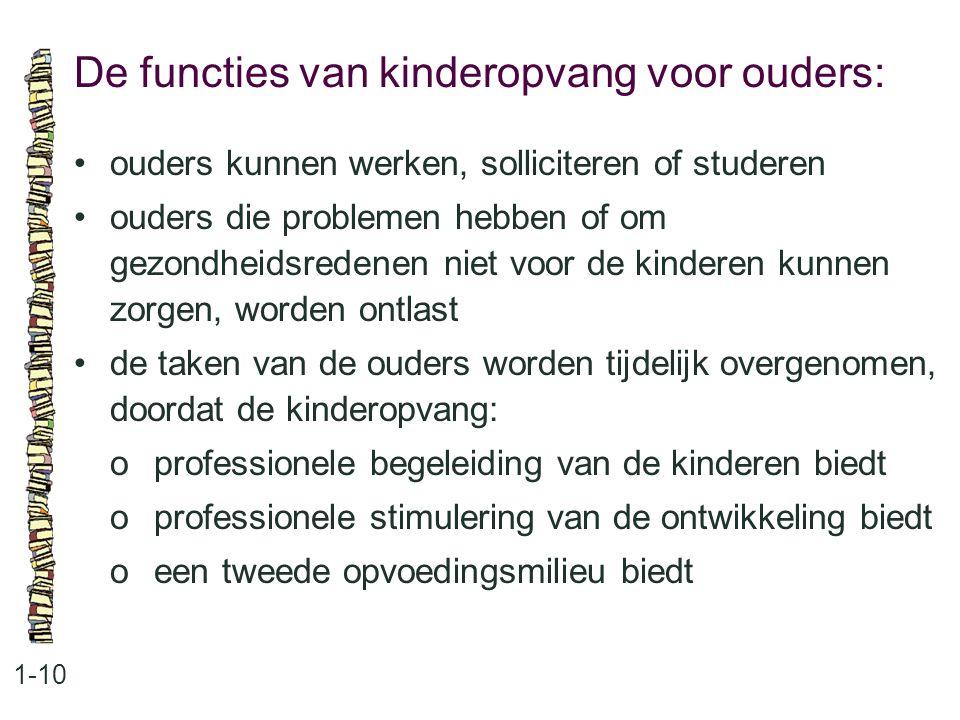 De functies van kinderopvang voor ouders: