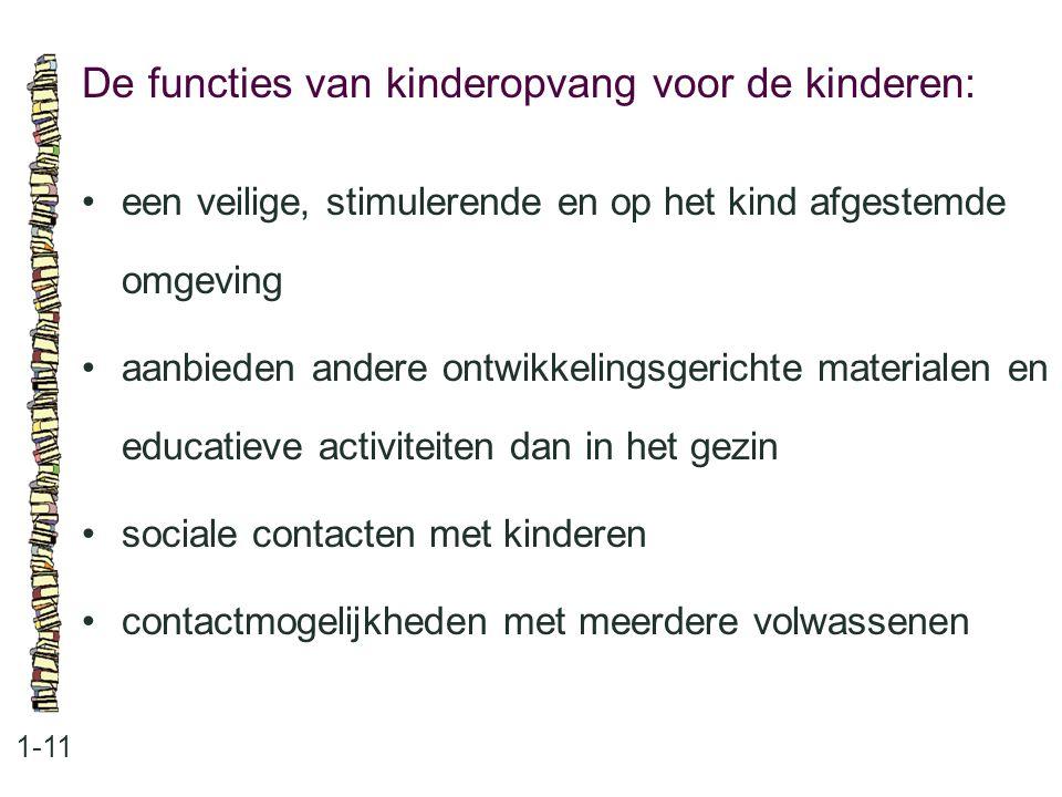 De functies van kinderopvang voor de kinderen: