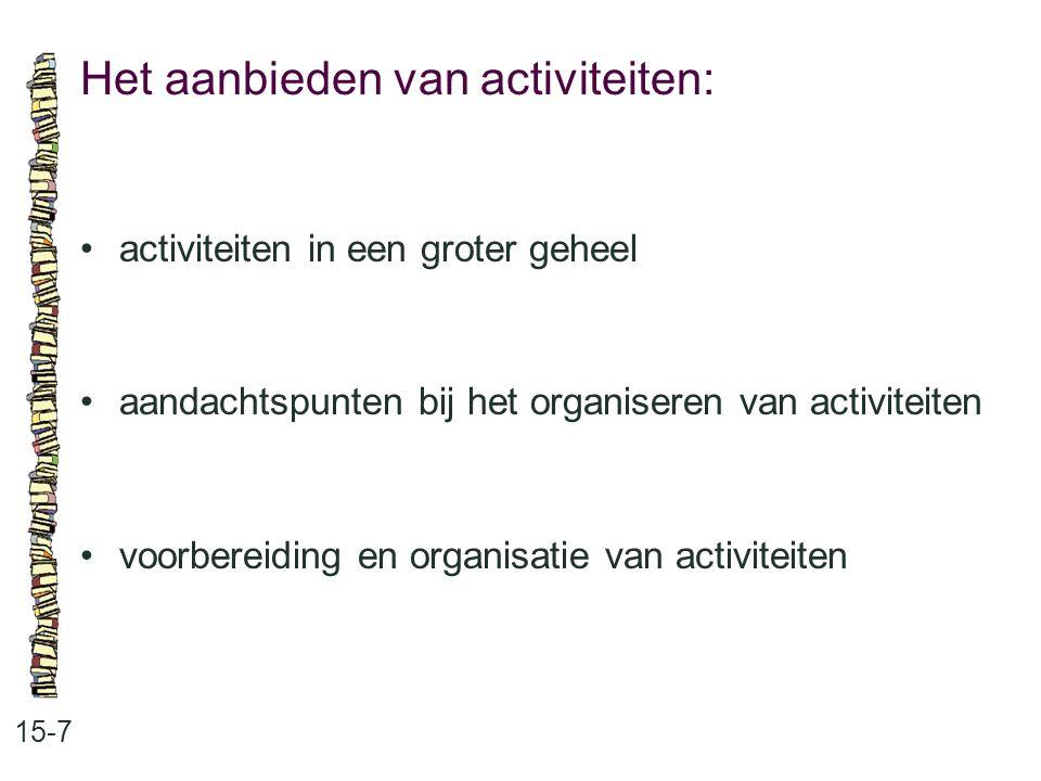 Het aanbieden van activiteiten: