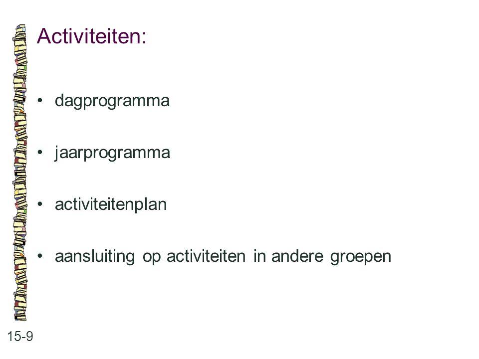 Activiteiten: • dagprogramma • jaarprogramma • activiteitenplan