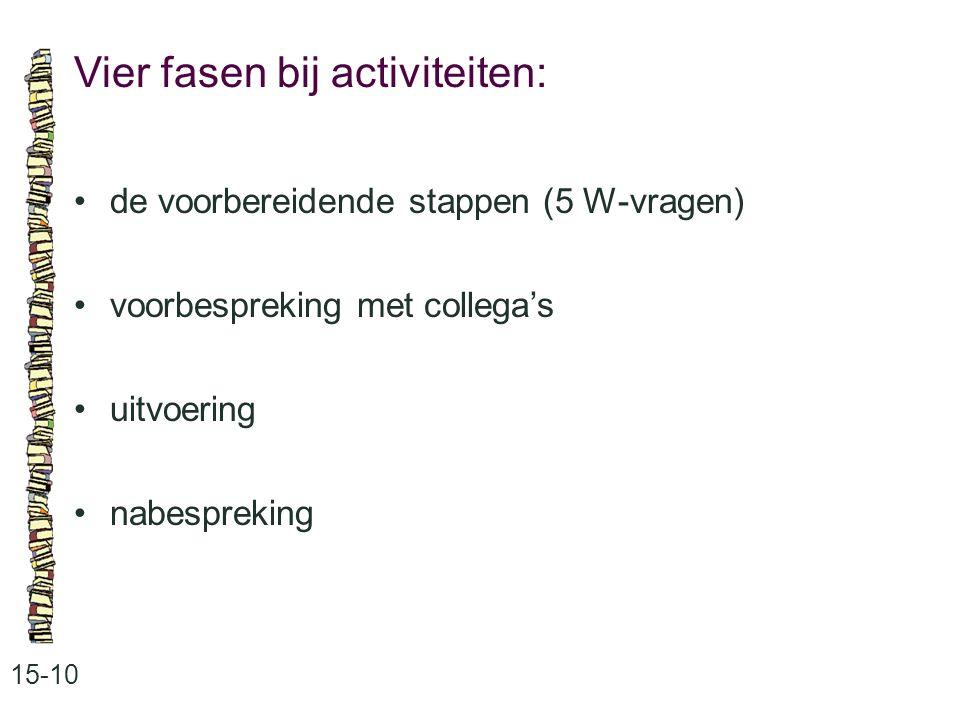 Vier fasen bij activiteiten: