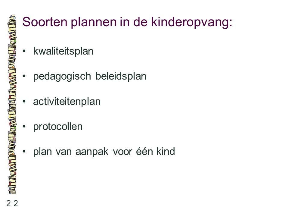 Soorten plannen in de kinderopvang: