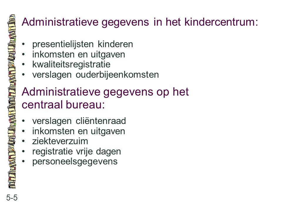 Administratieve gegevens in het kindercentrum: