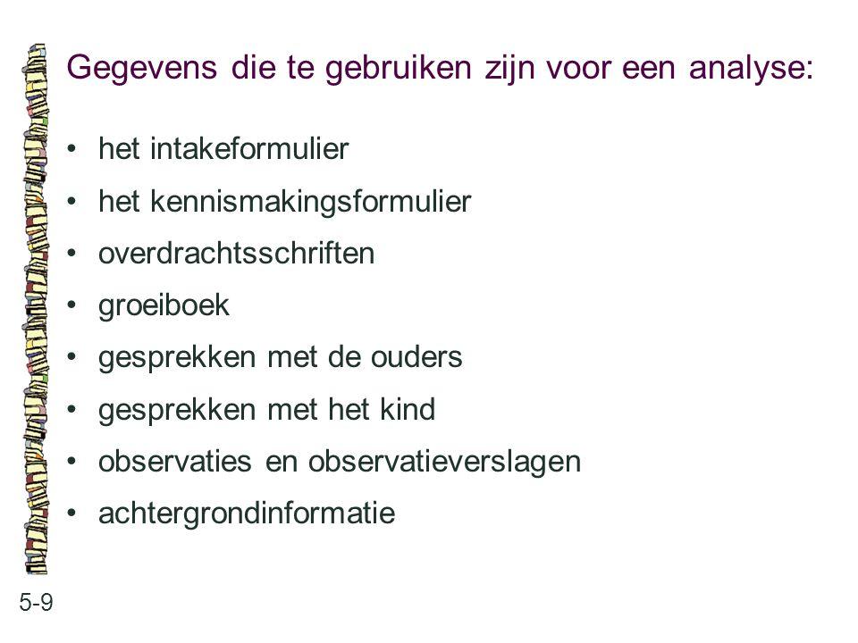 Gegevens die te gebruiken zijn voor een analyse: