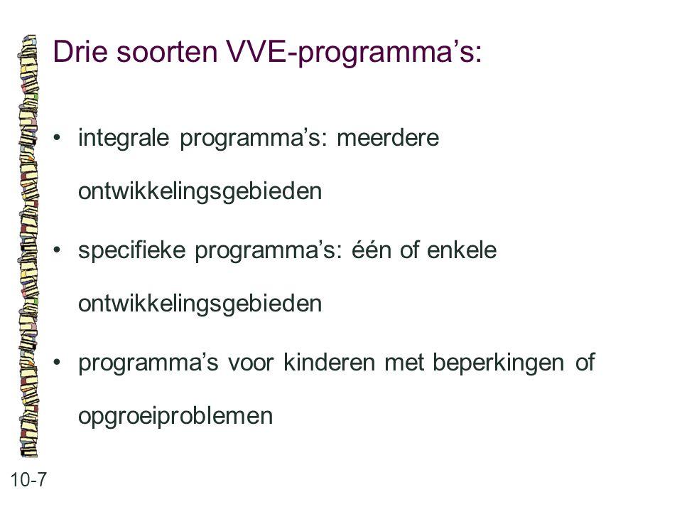 Drie soorten VVE-programma's: