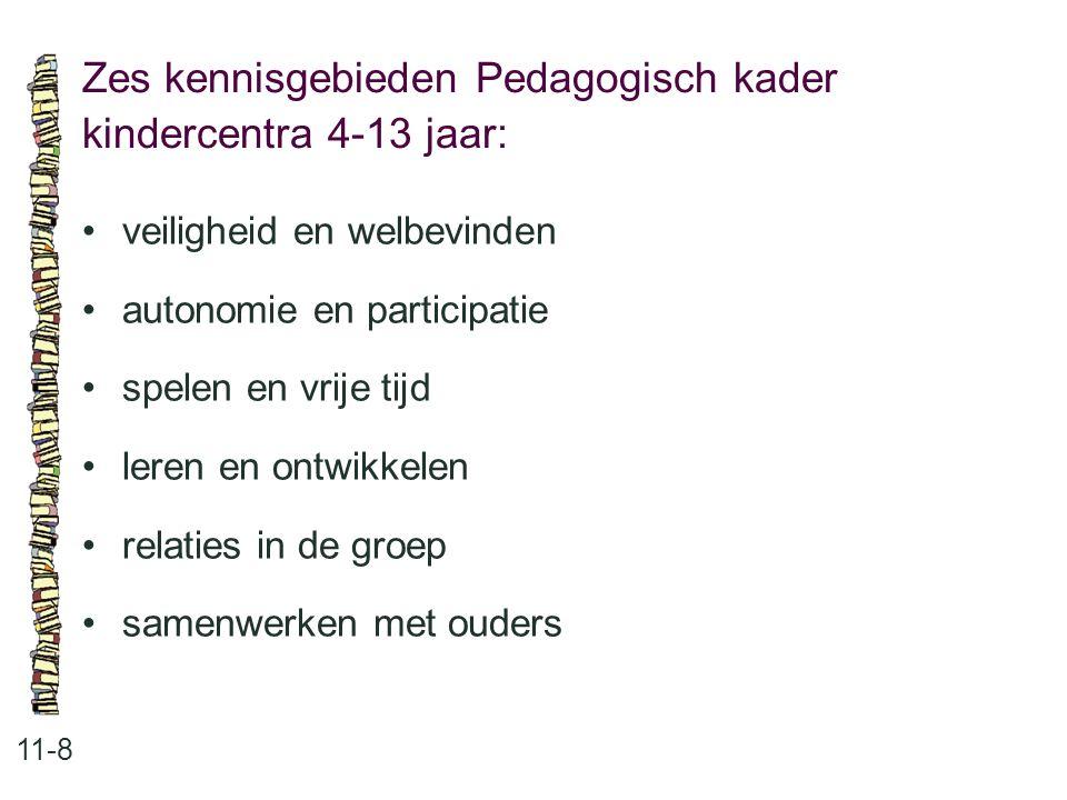 Zes kennisgebieden Pedagogisch kader kindercentra 4-13 jaar: