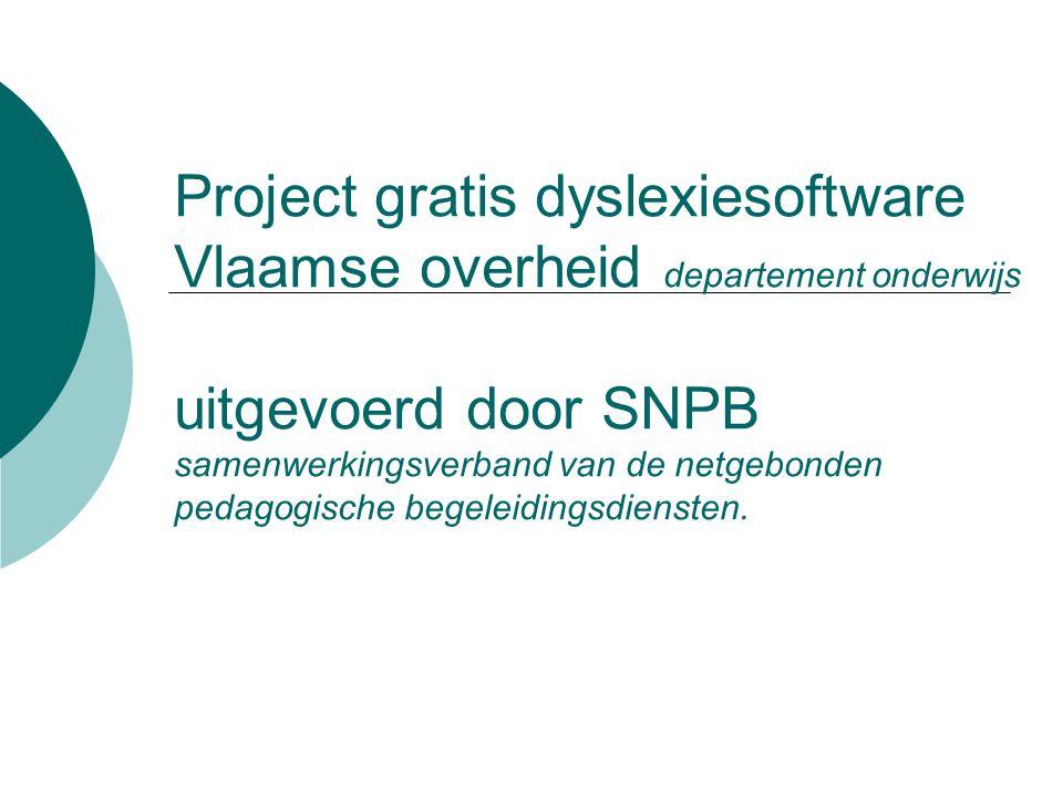 Project gratis dyslexiesoftware Vlaamse overheid departement onderwijs uitgevoerd door SNPB samenwerkingsverband van de netgebonden pedagogische begeleidingsdiensten.